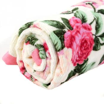 Home Hotel Soft Cotton Face Flower Towel Bamboo Fiber Quick Dry Bathroom Towels Facecloth 34*75cm pink floral towels