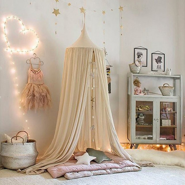 Ins Fashion Nordic Kids Room Decoration Single Door Hanging Net Children  Bedroom Decorations Cotton Kids Girls Mantle Nets Tents