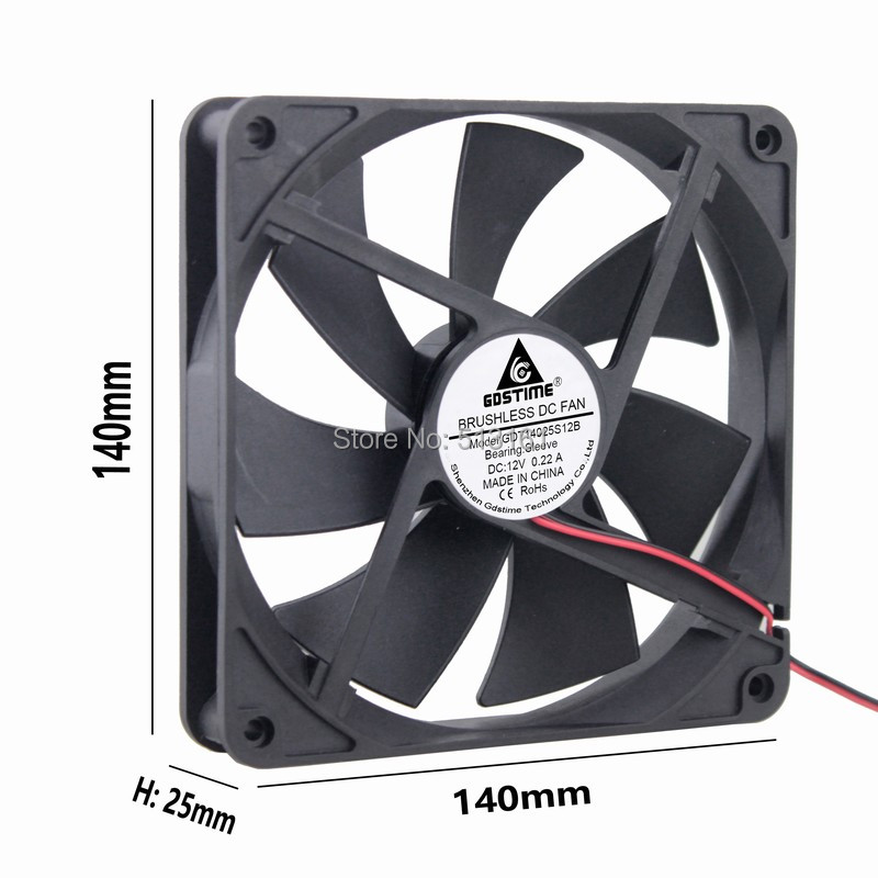 5 Pcs/Lot Gdstime Silent Quiet <font><b>140mm</b></font> Cooler PC Case Cooling <font><b>Fans</b></font> 14cm DC <font><b>12V</b></font> 2Pin Computer image