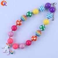 Free Shipping Fashion Jewelry 2Pcs Lot Handmade DIY Chunky Bubblegum Beads Alloy Colour Unicorn Pendant Necklace