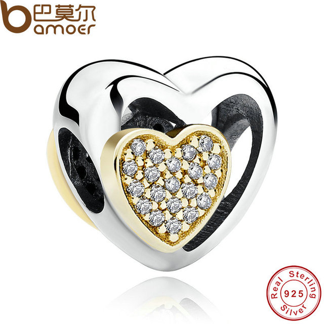 BAMOER Romantic 925 Sterling Silver Heart Joined Together, Clear CZ Charms Fit Bracelet Necklace Jewelry PAS265