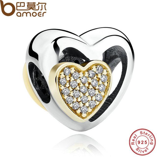 Bamoer romántica de ley 925 corazón de plata unido, Clear CZ Encantos Ajuste Pulsera Collar de La Joyería PAS265