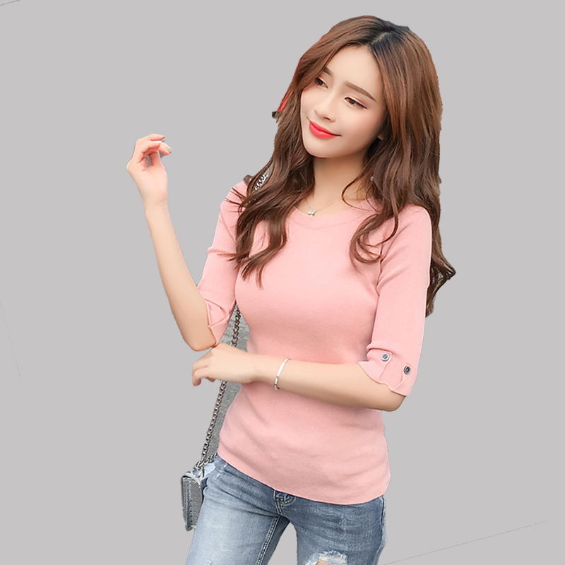 2018 Spring Knitted Pullover <font><b>3/4</b></font> <font><b>Sleeve</b></font> Elastic Women <font><b>Sweater</b></font> Blusas tight O-neck <font><b>sweater</b></font> slim pullover female Women's Clothing image