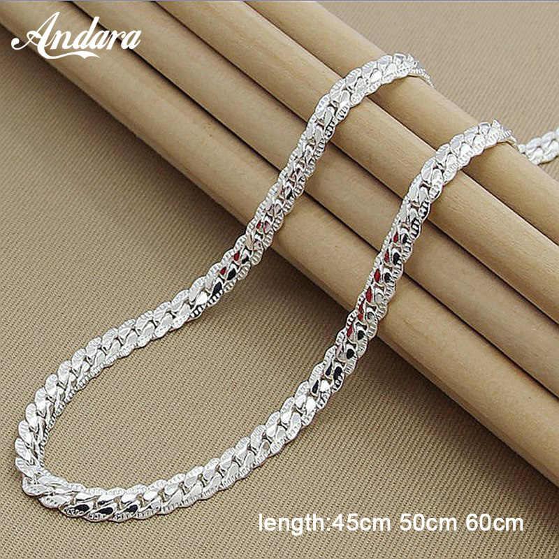Cena hurtowa 6MM pełna boki naszyjnik dla kobiet mężczyzn 925 Sterling Silver biżuteria wąż Chain naszyjniki