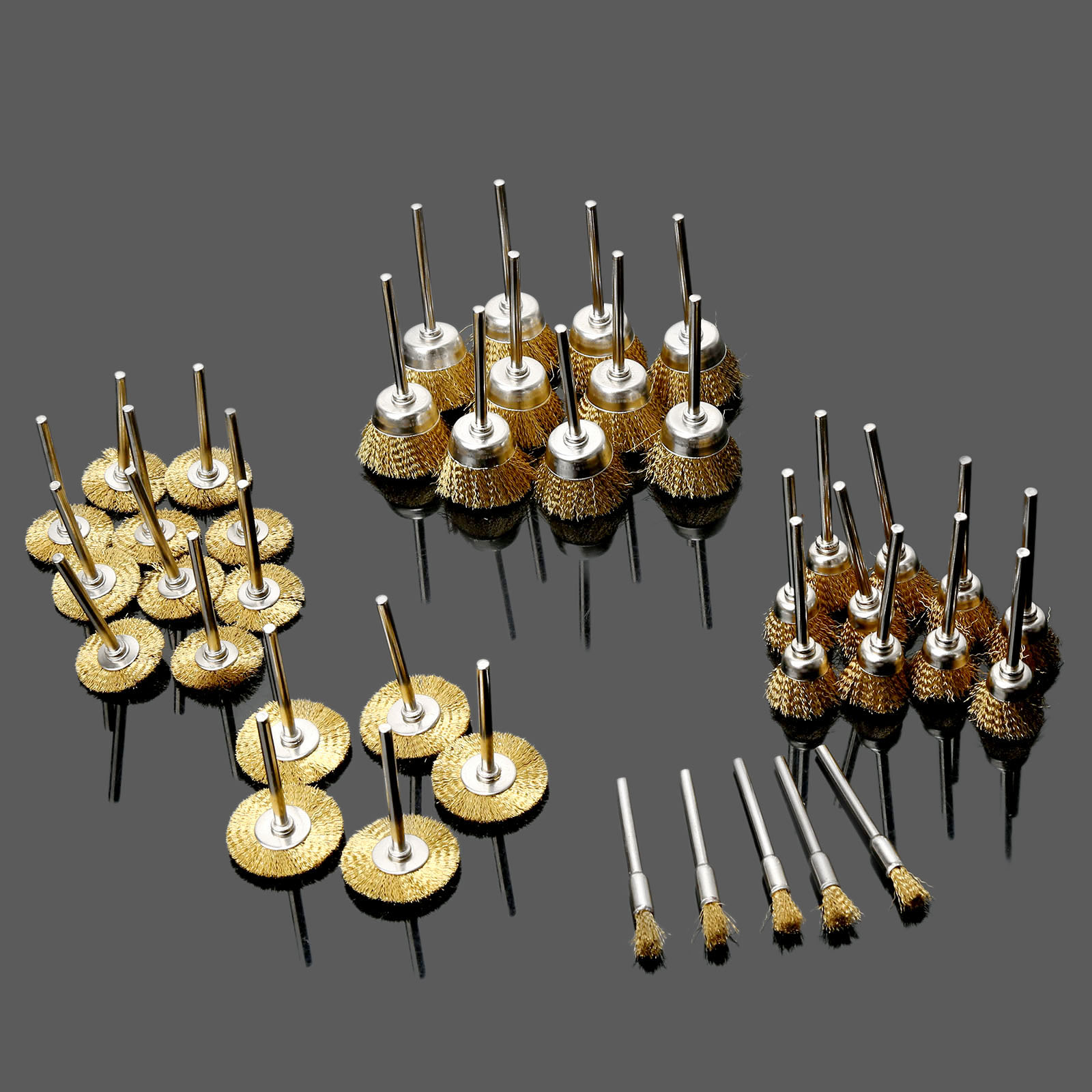 40Pcs Dremel Accessories Brass Wire Wheel Brushes Rotary Tools Burr Abrasive Tools Deburring for Mini Drill Polishing Grinding 16pc brass bristle wheel brushes for dremel accessories for rotary tools