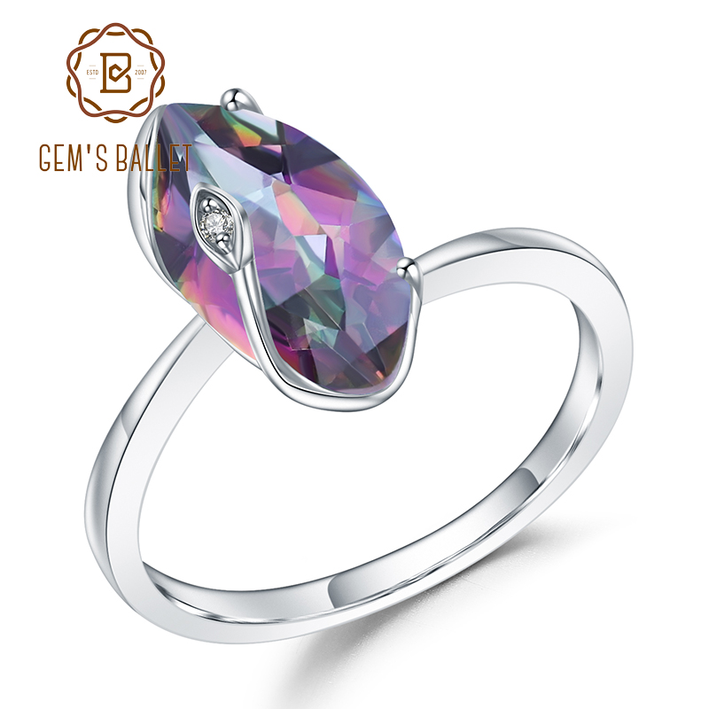 GEM'S BALLET 2.49Ct Marquise Natural Rainbow Mystic Quartz 925 Sterling Silver Gemstone Vintage Rings For Women Fine Jewelry