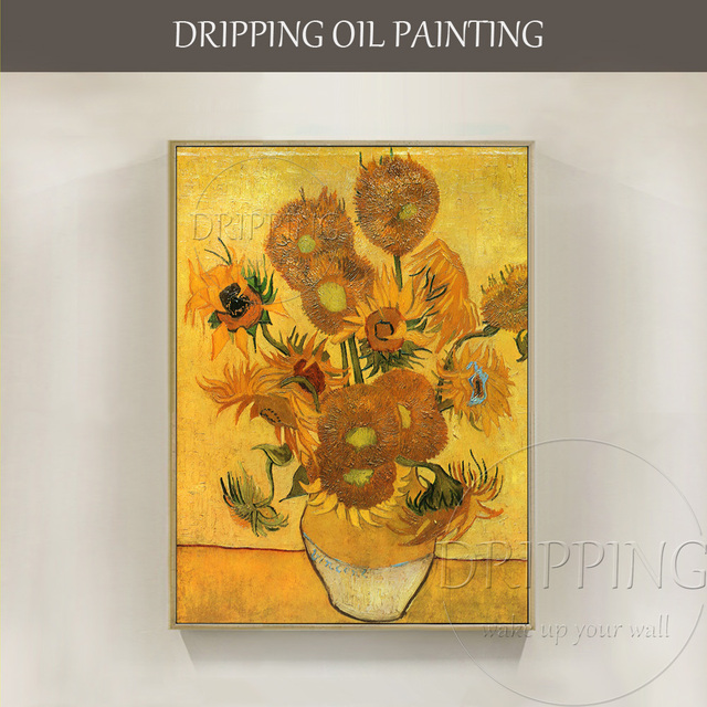 Professional Artist Reproduce Van Goghs Sunflower Oil Painting On