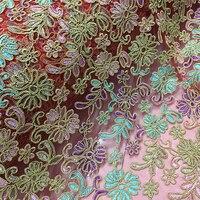 Leo & lin blu verde viola colore del fiore del ricamo jacquard del merletto duro della maglia lane e filati vestito abbigliamento tessile tessuto per cucire diy