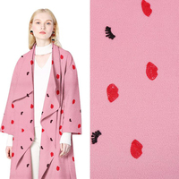 Embroidered Wool Clothing Fabric Printing Aesthetic Dress Coat Dress Apparel Fabrics Pink Flowers New Special Fashion