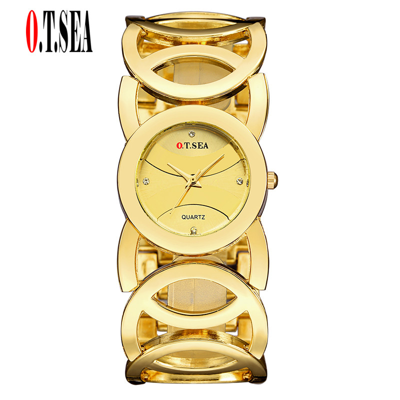 Hot Sales O.T.SEA Brand Hollow Bracelet Watches Women Ladies Fashion Crystal Dress Quartz Wristwatches Relogio Feminino 735 hot sales geneva brand silicone watches women ladies men fashion dress quartz wristwatches relogio feminino gv008
