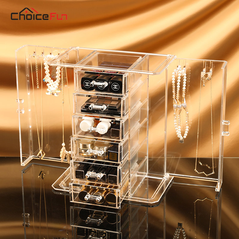 Storage-Box Organizer Desk-Accessories Dresser Makeup Jewelry 5-Drawers Big for 2-Doors