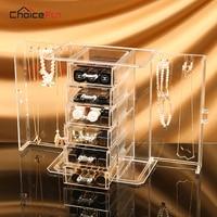 CHOICEFUN 2 Doors 5 Drawers Bracelet Necklace Makeup Desk Accessories Organizer Girls Dresser Large Big Storage Box For Jewelry