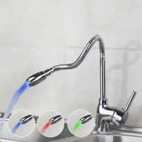 A Pak Kitchen Faucet Torneira 2014 New Brand Swivel LED Light 360 Deck Mounted Chrome 8551