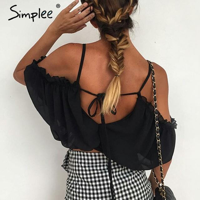 Simplee Lace up plaj bluz gömlek kadınlar tops Fırfır chifffon beyaz bluz Elastik backless kadınsı bluz chemise femme blusas