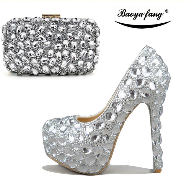1766d0a243e Women wedding shoes with matching bags Silver Crystal High heels platform  shoes Ladies Paty Dress shoes