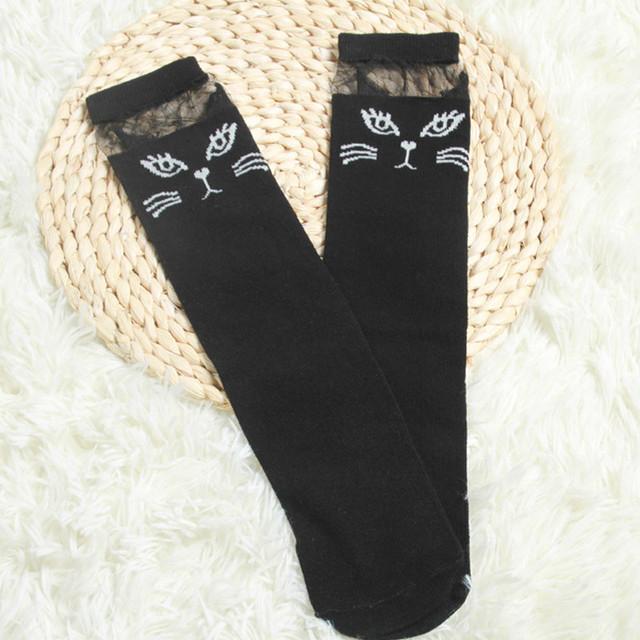 Cute Cartoon Cat Girl's Long Socks