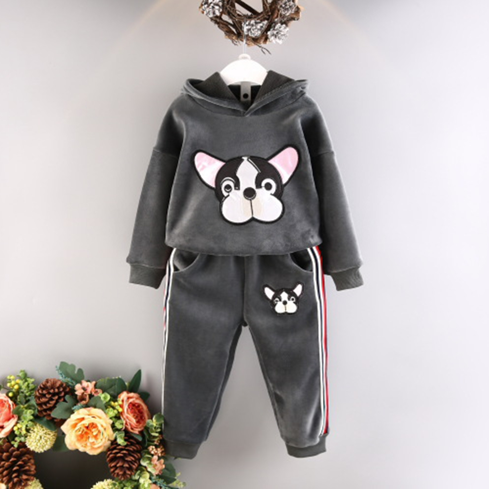 Boys and girls dog head pattern thick sweater autumn and winter new two sets of children hooded silver fox sweater sweater y0639 children sets girls winter sweater coat