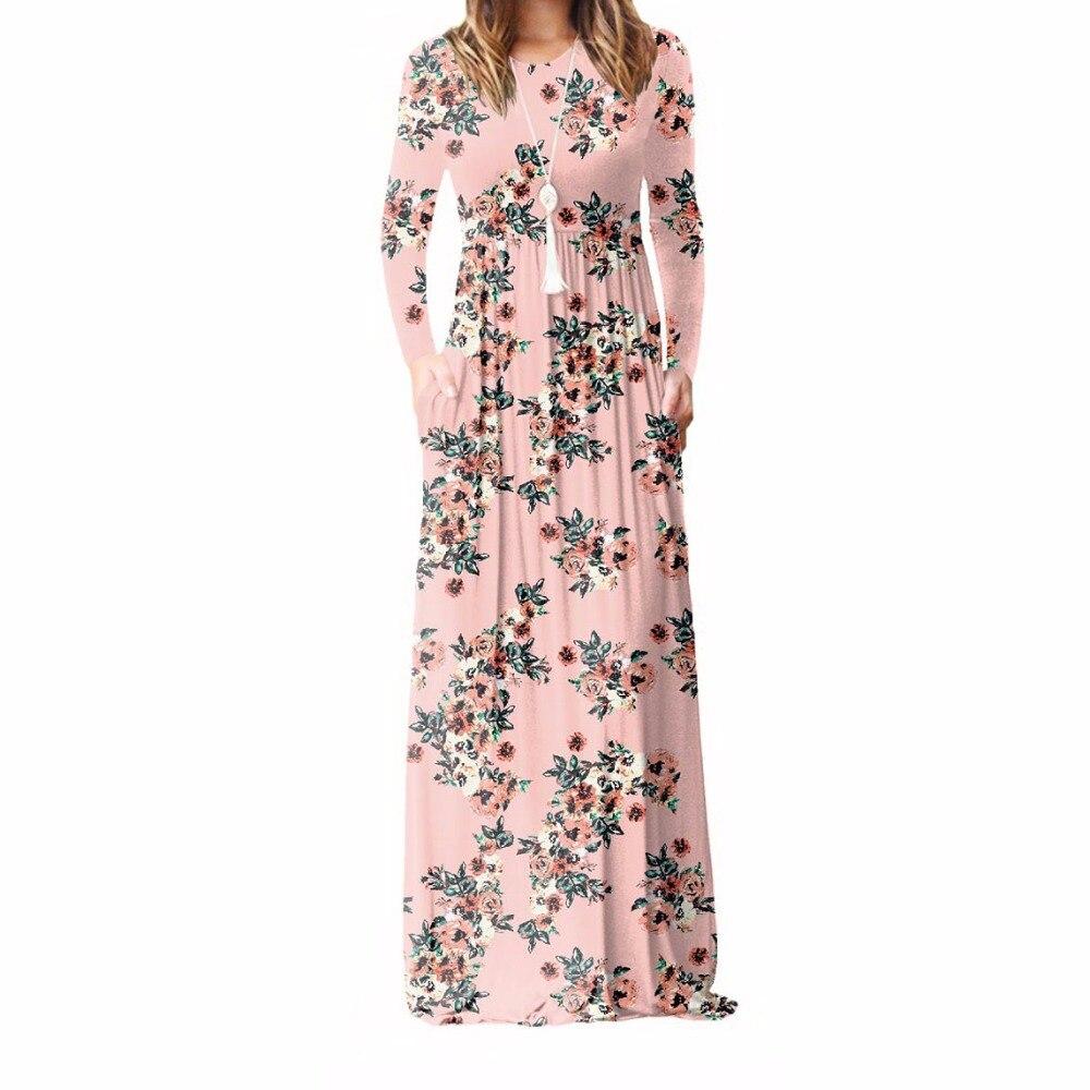 XXXL Plus Size Mulheres Vestido Longo 2019 Outono Nova Impresso Maxi Vestido Dropship Casual Bolsos do Assoalho-Comprimento Vestido de Verão Do Partido 7 cores