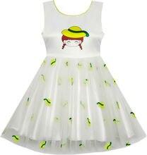 Sunny Fashion платья для девочек Catoon Девушка Шаблон Тюль Наложение Вечеринка Карнавальное шествие