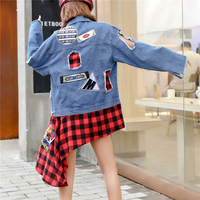 2019 Spring And Autumn Fashion New Badge Patch Cloth Hole Red Lattice Stitching Irregular Denim Loose Jacket Female H00603