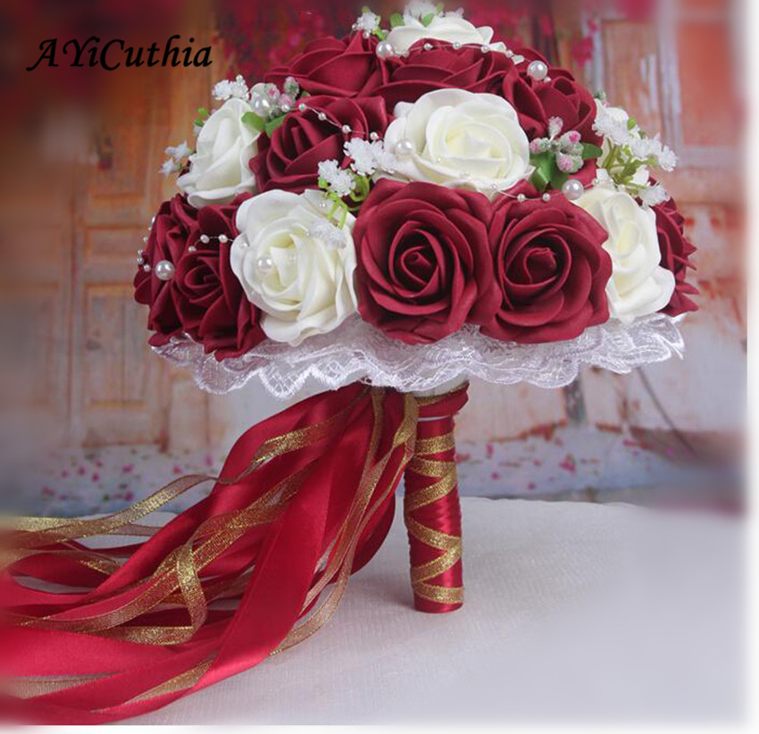 Burgundy Wedding Bouquet Pink/Red/White/Burgundy Bridal Bridesmaid Flower Artificial Flower Rose Bouquet Bride AA130