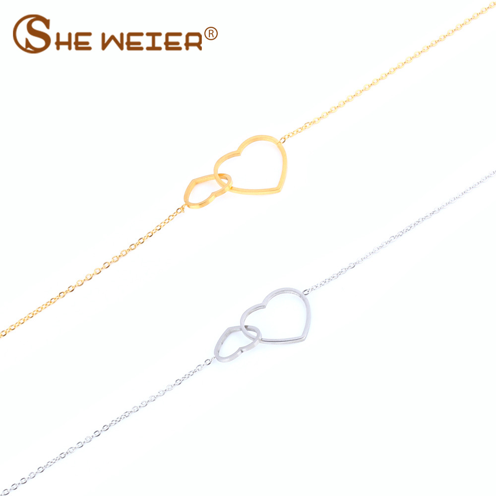 SHE WEIER jewelry heart bracelets & bangles femme stainless steel bracelet women braslet gifts for girls charms bracelet