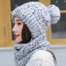 SUOGRY Womens Scarf and Hat 2pcs Set Warm Knit Thick Skull Cap For Women Plus Velvet Thicken Beanie