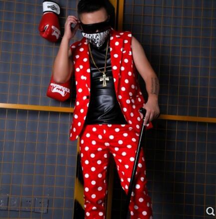 5xl S Red Hommes Nouveaux Costume De La Gilet Dg Rouge Mode Stade Plus Dj Red Points pants Discothèque Vêtements 2018 Pants Chanteur Vague Shorts Costumes red Taille Suit Vest dBAwrExqBn