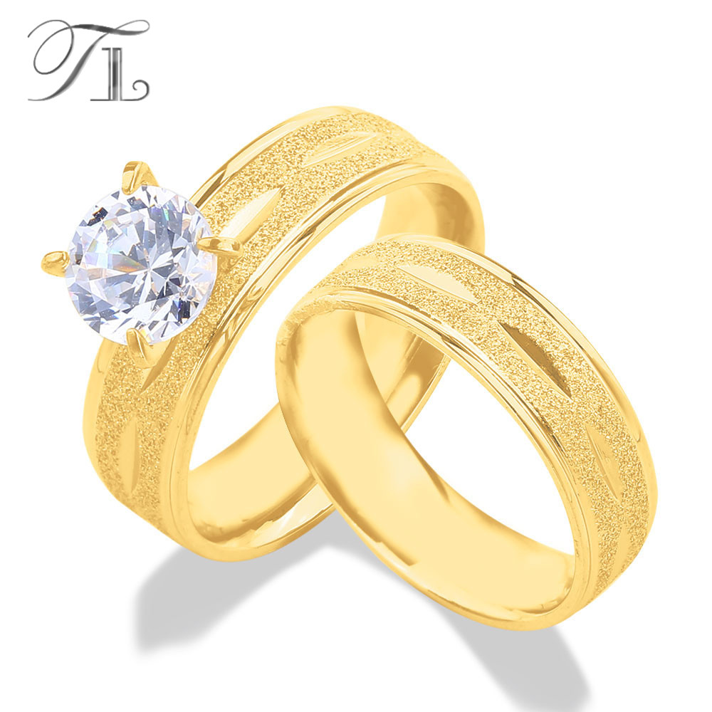 Tl Gold Color Stainless Steel Engagement Pair Rings