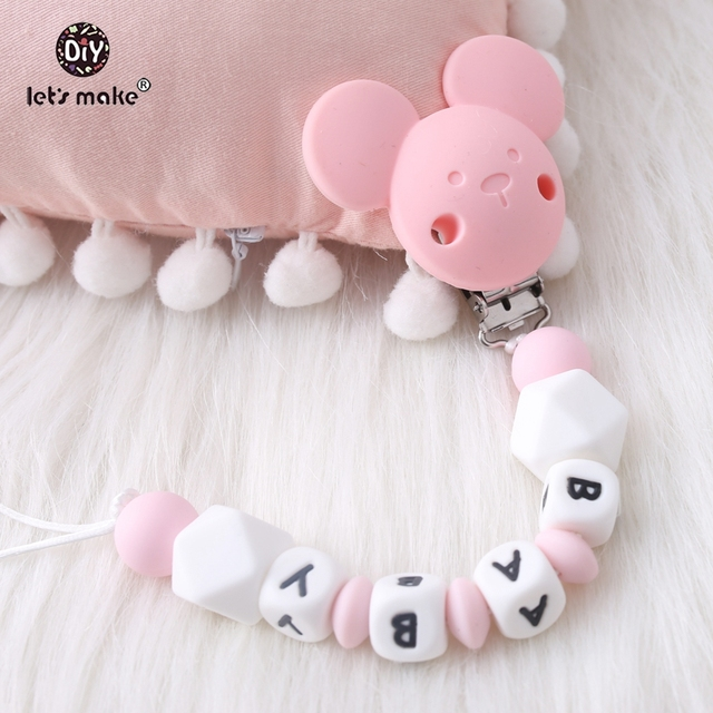 Let's make 1pc Cartoon Bear Custom Personalise Baby Name Pacifier Clips Chain Teething BPA Free Holder For Dummy Baby Pacifier