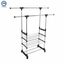 Adjustable Rolling Garment Rack Clothes Storage Organization Drying Hanging Portable Wardrobe Bottom OrganizerHong