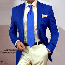 Royal Blue Men Suits for Wedding with Ivory Pants Business 2Piece Slim Fit Terno Masculino Trajes Costume Homme