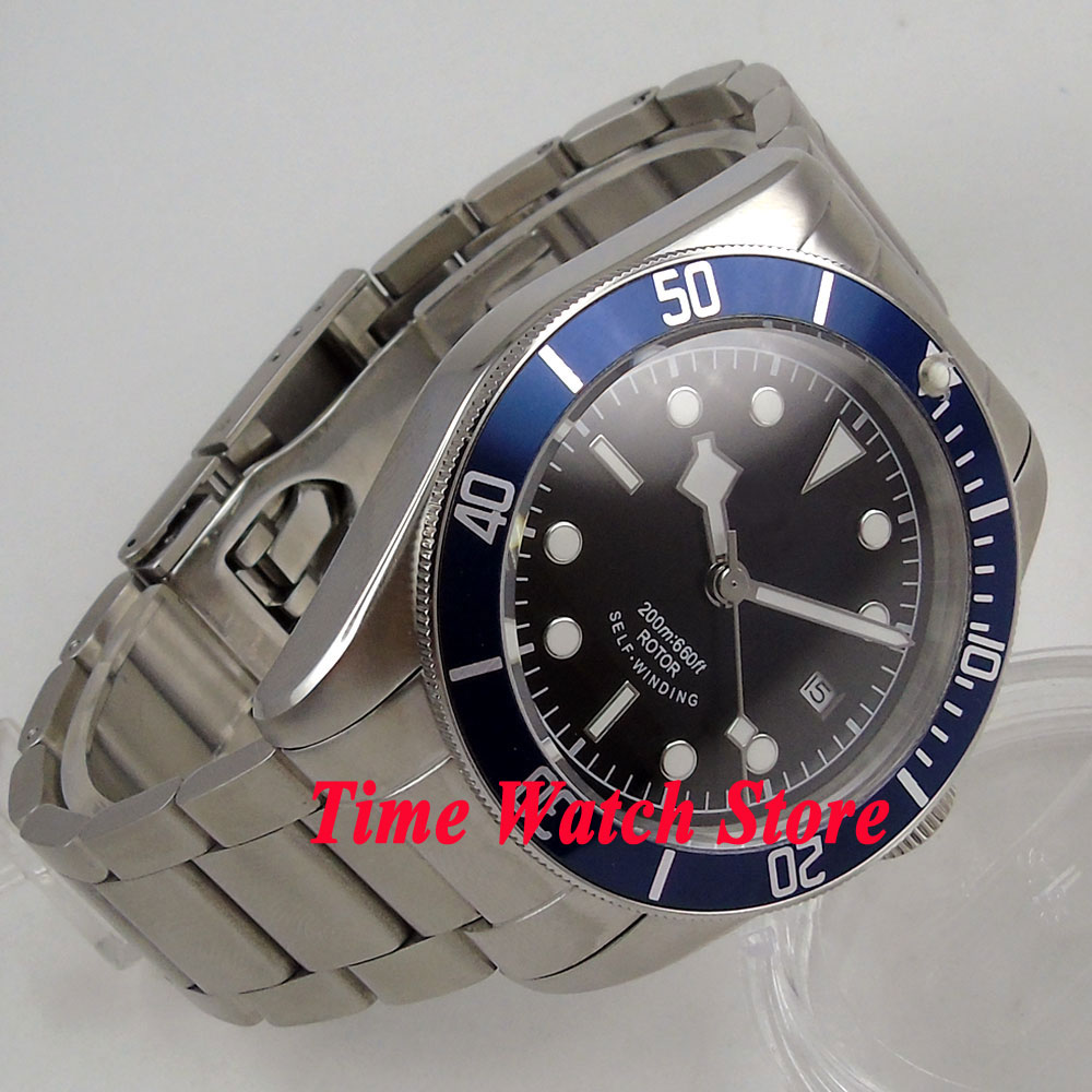 41mm Corgeut black sterial dial white marks blue Bezel sapphire glass bracelet MIYOTA Automatic Men's watch men cor92 polisehd 41mm corgeut black dial sapphire glass miyota automatic mens watch c102
