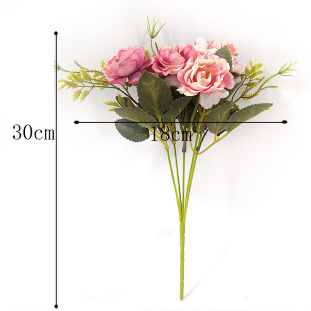 Peony DIY Party Decoration Vintage Silk Artificial Flowers Small Rose Wedding Fake Flowers Festival Supplies Home Decor Bouquet 3