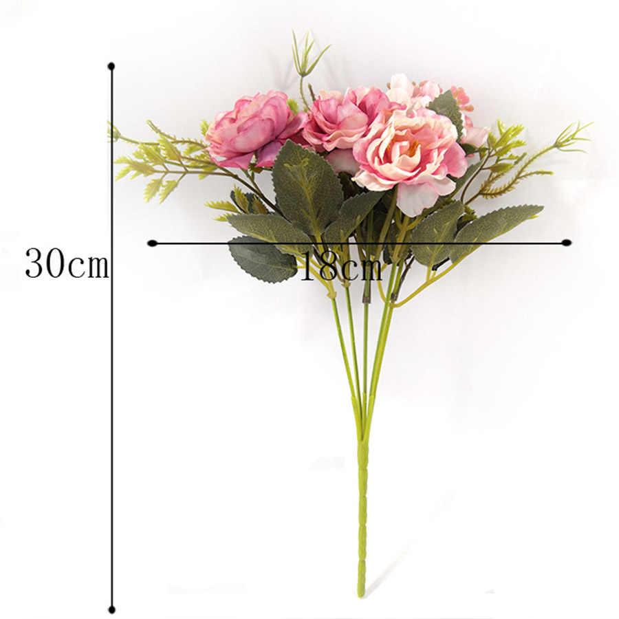 Pfingstrose DIY Party Dekoration Vintage Seide Künstliche Blumen Kleine Rose Hochzeit Gefälschte Blumen Festival Lieferungen Wohnkultur Bouquet