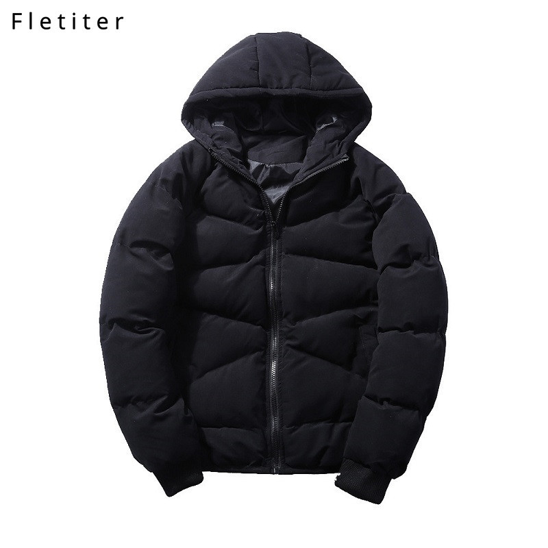 Fletiter Brand thick Jacket Mens Hooded   Parka   New Fashion High Quality Black Casual Coat Men Windproof Winter Large Size M-5XL