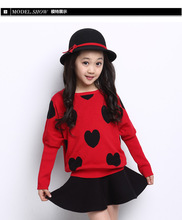 Girl Kids 2016 Fall Winter New Japanese Style Children s Clothes Round Neck Sweater Skirt Leisure