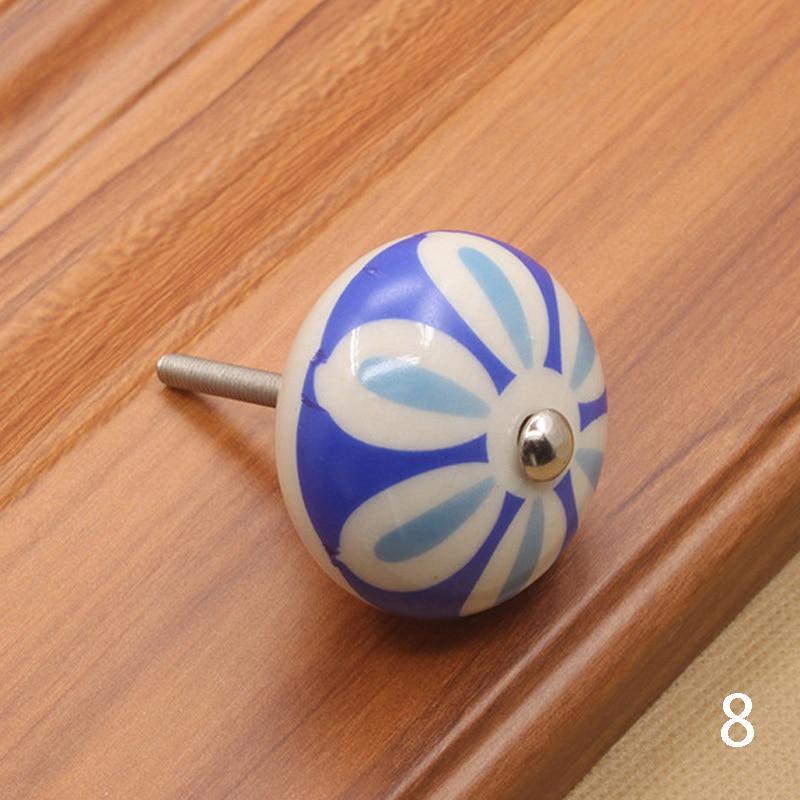 Мебельная фурнитура 40 мм ручка для мебели керамические ручки для ящиков шкафа и ручки дверный шкаф кухонные ручки - Цвет: 8