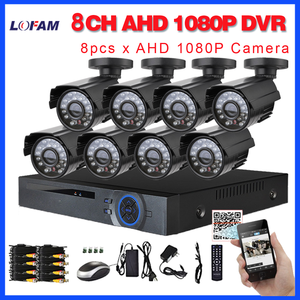 LOFAM 8CH CCTV System AHD 1080P DVR NVR 2MP Waterproof Outdoor Camera Video Surveillance Home Security
