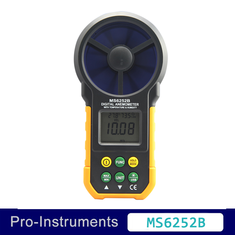 MS6252B Digital Anemometer T&Rh Sensor Air Wind Speed Velocity Meter USB Interface ms cx2 4 sensor mr li