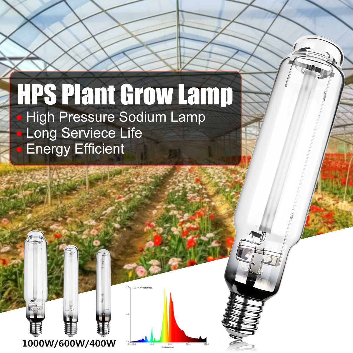 Smuxi E40 23Ra 400W 600W 1000W HPS Plant Grow Lamp High Pressure Sodium  Lamp Energy Efficient Long Service Life 23000 Hours