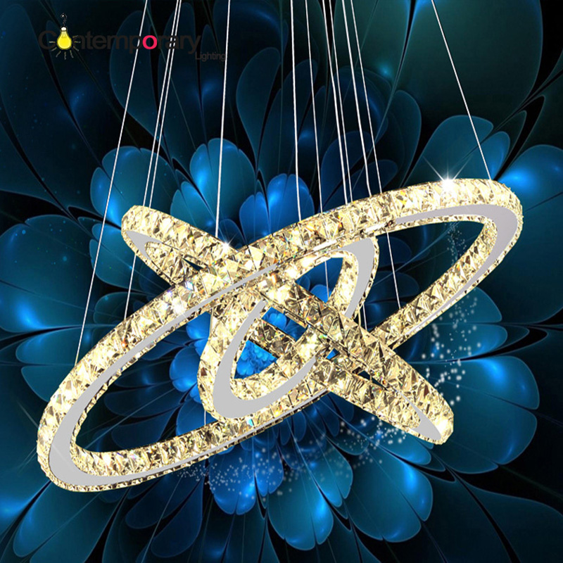modern crystal pendant light Circle Suspension dining room hanging lamp Diamond Ring LED lights Cristal Lustre de sala lighting diamond crystal ring led pendant light crystal lamp modern crystal light circle hanging lustres led luminaire lighting dimmable