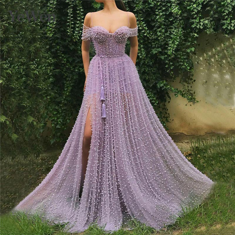 Purple Sexy Pearls A-Line Tulle   Evening     Dresses   2019 Long Off shoulder Latest Design Short Sleeves   Evening   Gowns YeWen