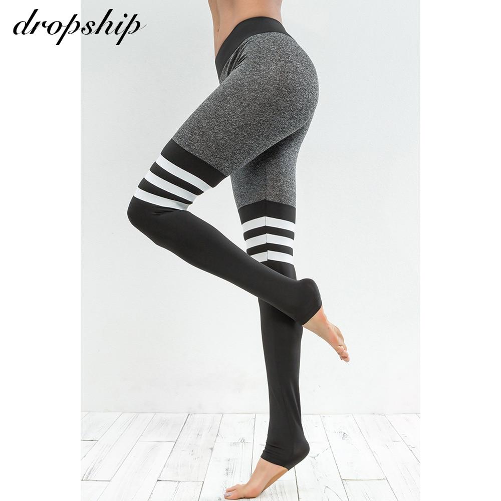 Dropship   Leggings   Women Fitness Legins Workout Low Waist Jeggings Autumn Black Elastic Slim Sport Patchwork Womens 2018