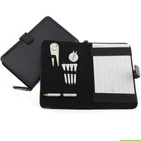 CRESTGOLF Golf Score Card Holder PU Cover With Pencil Divot Tool Golf Tees Hat Clip