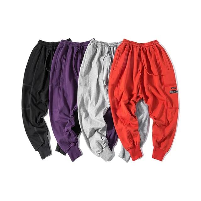 4 Colors Men New Solid Color Loose Harem Trousers Male Hip Hop Streetwear Elastic Waist Jogger Casual Pant Sweatpants