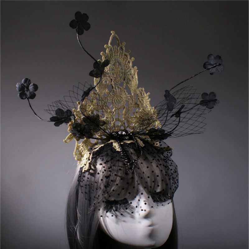 Mysterious veil creative headdress Halloween Party Clothing accessories Christmas Stage Catwalk Exaggerated Headwear
