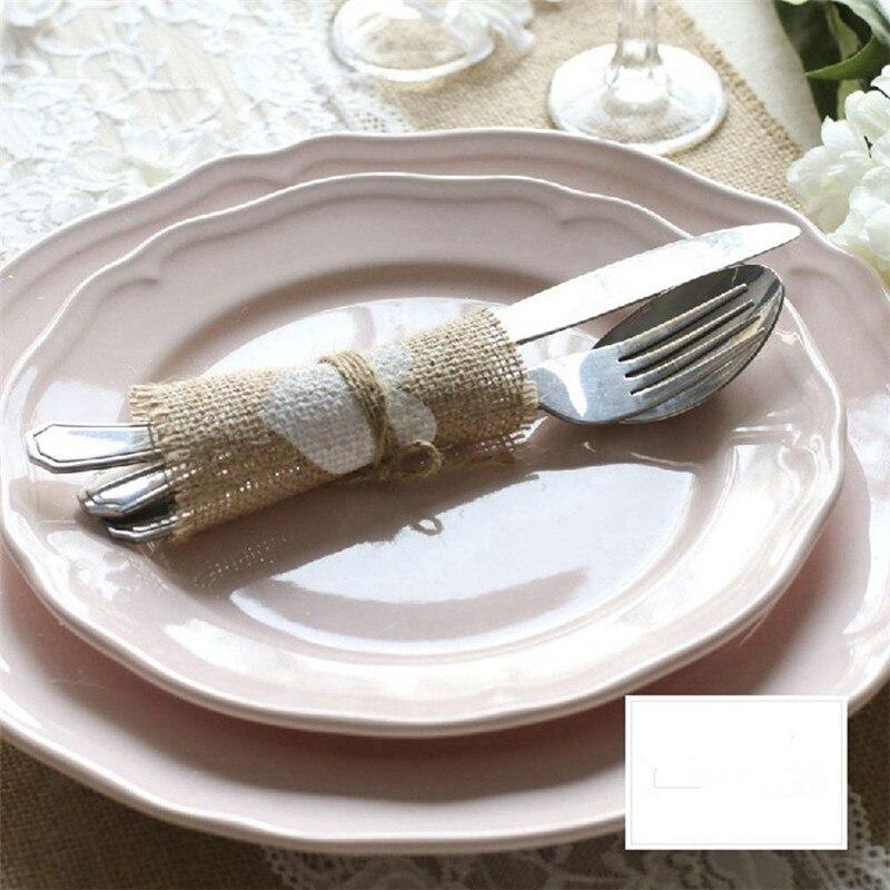 100pcslot Jute Cup Mat Table Placemat Coaster Rustic Wedding Centerpiece Wedding Cutlery Pocket Burlap Wedding Decoration (5)