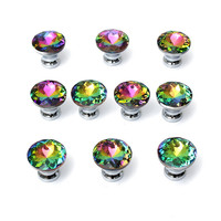 MTGATHER 10Pcs/ Set 30mm Crystal And Zinc Alloy Knobs Handle Crystal Clear Glass Cupboard Wardrobe Cabinet Door Drawer Hot Sale