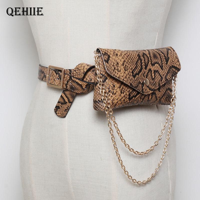 QEHIIE  Luxury Serpentine Fanny Pack Women Leather Chain Waist Bag On Belt Fashion Small Phone Pouch Bum Bag Waist Pack Heupta